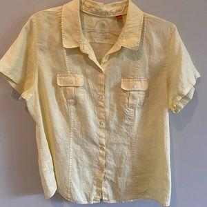 Tommy Bahama Women's  Yellow Linen Camp Shirt XL